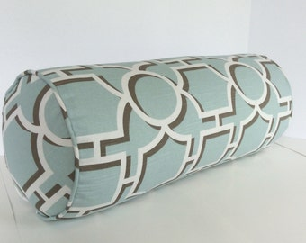 Geometric Bolster in Aquatic Fabric - includes insert
