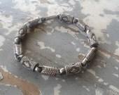Men's Vintage Sterling Silver Heavy Barrel Link Bracelet Cuff Bracelet Stamped 925 Jewelry