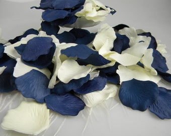200 Blue and Ivory Rose Petals | BULK Artificial Petals | Navy & Ivory Wedding | Nautical Wedding | Flower Tossing Petals - Table Scatter