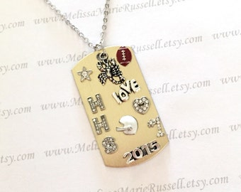 Personalized High School Dog Tag necklace, Scorpion Football, 2015, Dog Tag Necklace, personalized, handmade jewelry
