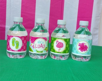 50% OFF SALE - Luau Water Bottle Labels Printable - Watercolor Luau Collection