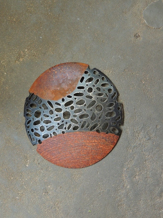 Round Outdoor Wall Decor : Round metal sculpture rustic modern wall art abstract indoor