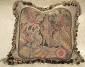 Stunning 19th Century Needlepoint Tapestry Pillow~ Figural. One of pair