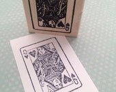 Queen of Hearts Playing Card  Wood Mounted Rubber Stamp 2176