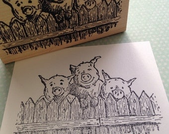 Three Pigs  Wood Mounted Rubber Stamp 4616
