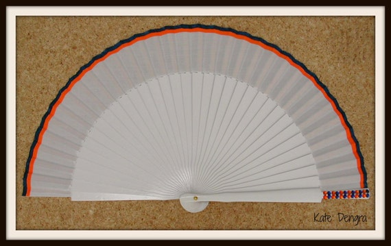 White Navy Orange Bling SIZE OPTIONS Hand Held Folding Fan From Spain MTO