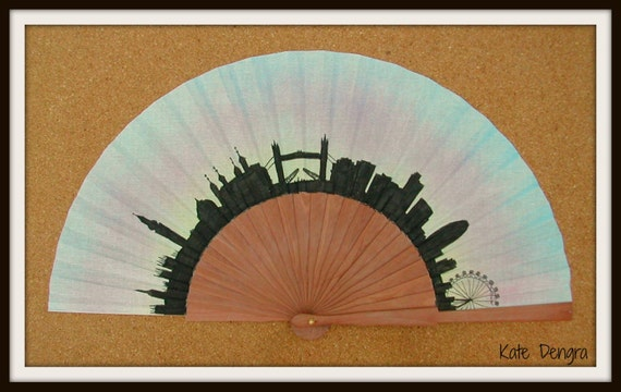 LONDON Skyline Hand Fan Flamenco Folding Fan from Spain MTO Made to order with any Skyline