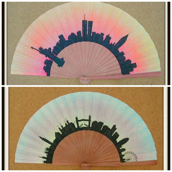 LONDON or NEW YORK Skyline Hand Fan Flamenco Folding Fan from Spain Mto Made to order with any Skyline Background