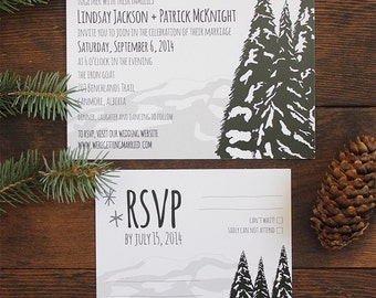 Mountain Tree Forest Rustic Outdoors Wedding Invite Suite Invitation Card Suite RSVP Adventure Camping Stars Snow