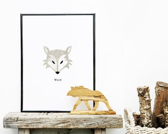 Children's Wolf Wall Print - Watercolour Detail