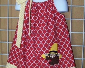 Curious George Pillowcase Dress, Monkey Dress, Red Quatrefoil with Yellow and White Polka Dots, Size 6 mos to 14