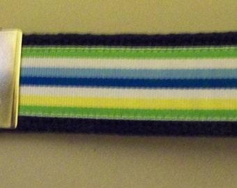 Key Fob Wristlet -Navy Blue Webbing with stripped ribbon (green, white, blue)
