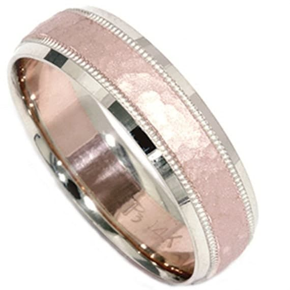 Mens 14K White And Rose Gold Hammered 6MM Wedding Ring Band