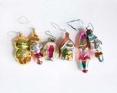 Rare 6 Midcentury Vintage Russian Mercury Glass Christmas Ornaments. Traditional Christmas Holiday Decor. SET 3