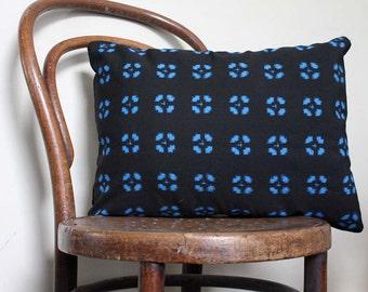 Geometric Woven Ikat Decorative Pillow. Orange and Black Retro Cushion Cover. Recycled Kimono