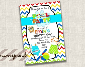 Pool Party Summer Swim Birthday Invitation