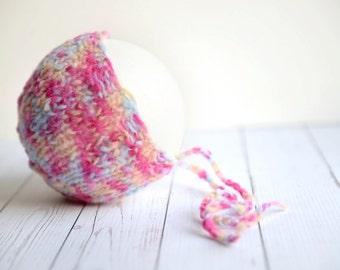 Handknit pink and blue newborn baby girl round back bonnet hat photography prop