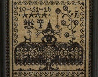 Which Witch? : La D Da cross stitch patterns sampler October Halloween Autumn monochromatic hand embroidery