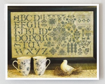 Green on Green : Rosewood Manor cross stitch patterns sampler St. Patrick's Day Celtic Irish alphabet hand embroidery