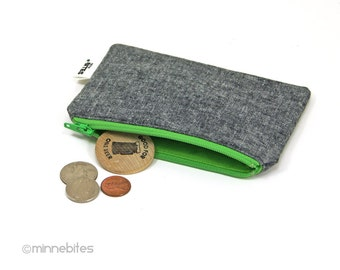 Best Seller Men's Green Zip Pouch by MinneBites / Handmade Gray Linen Card Case - Guys Wallet - Gift for Him - Key Pouch - Ready to Ship
