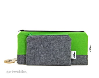 Men's Green Gift Set of Two Pouches - Guys Organizer - Desk Organization - Mens Toiletry - Vegan Coin Pouch - Guys Gift - Ready to Ship