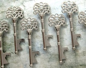 "Skeleton Key BOTTLE OPENERS – Set of 75 – Antique Silver – 3"" Long (76mm) –Vintage Style - Create Your Own Wedding Favors! Ships from USA."