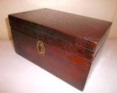 Antique Wood Box Desk Storage Keepsake Chest Tea Chest Spice Chest