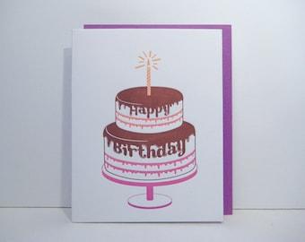 Letterpress Birthday Card - Happy Birthday Letterpress - Birthday Cake - birthday candle- fun - celebrate - chocolate frosting cake
