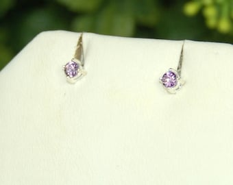 Amethyst Earrings, Sterling Silver, February Birthstone, Purple Amethyst, Tiny Amethyst Stud, Amethyst Posts