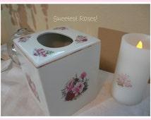 Sweetest Ceramic Kleenex Box, Ivory with Detailed Roses