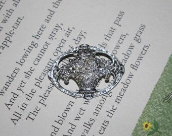 "Vintage Oval Sterling Silver 925 Opened Worked Marcasite Flower Basket Brooch Pin 1 7/8"""