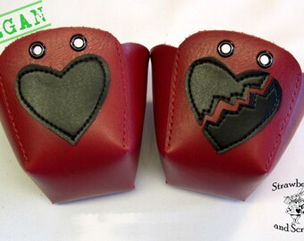 VEGAN leather Roller Derby skate toe guards with Hearts