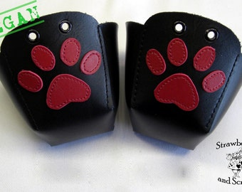 VEGAN leather Roller Derby skate toe guards with Paw prints