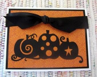 Three Black Pumpkins Card  Set of 6