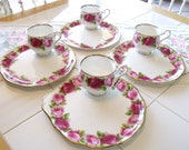 Royal Albert Round Porcelain Handled Snack Set Plate & Cup Set in Old English Rose Pattern