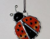 Stained Glass Suncatcher - Red or Green Ladybug with spots