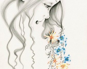 Girl Illustration Giclee Print of my Original Pencil Drawing of a Girl Sad Crying Girl Fine Art Home Decor for Her Gift for Her Sad Wall Art