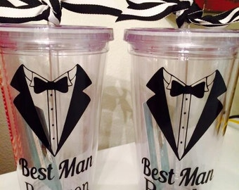 Personalized BEST MAN tumblers!