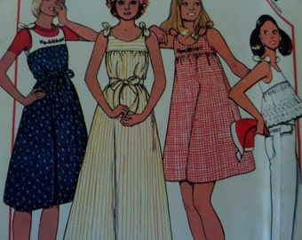 TIE SUNDRESS Pattern • McCall's 5540 • Miss 10 • Crop Shorty Top • Yoked Maxi Dress • Sewing Patterns • Vintage Patterns • WhiletheCatNaps