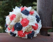 Coral and Navy Burlap and Lace Bridal Bouquet / rustic wedding bride's bouquet / coral / burlap bouquet / country wedding / navy