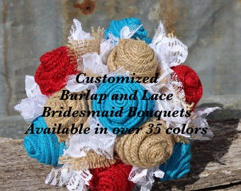 Customized bridesmaid bouquets to match your burlap and lace bridal wedding bouquet  over 35+ colors