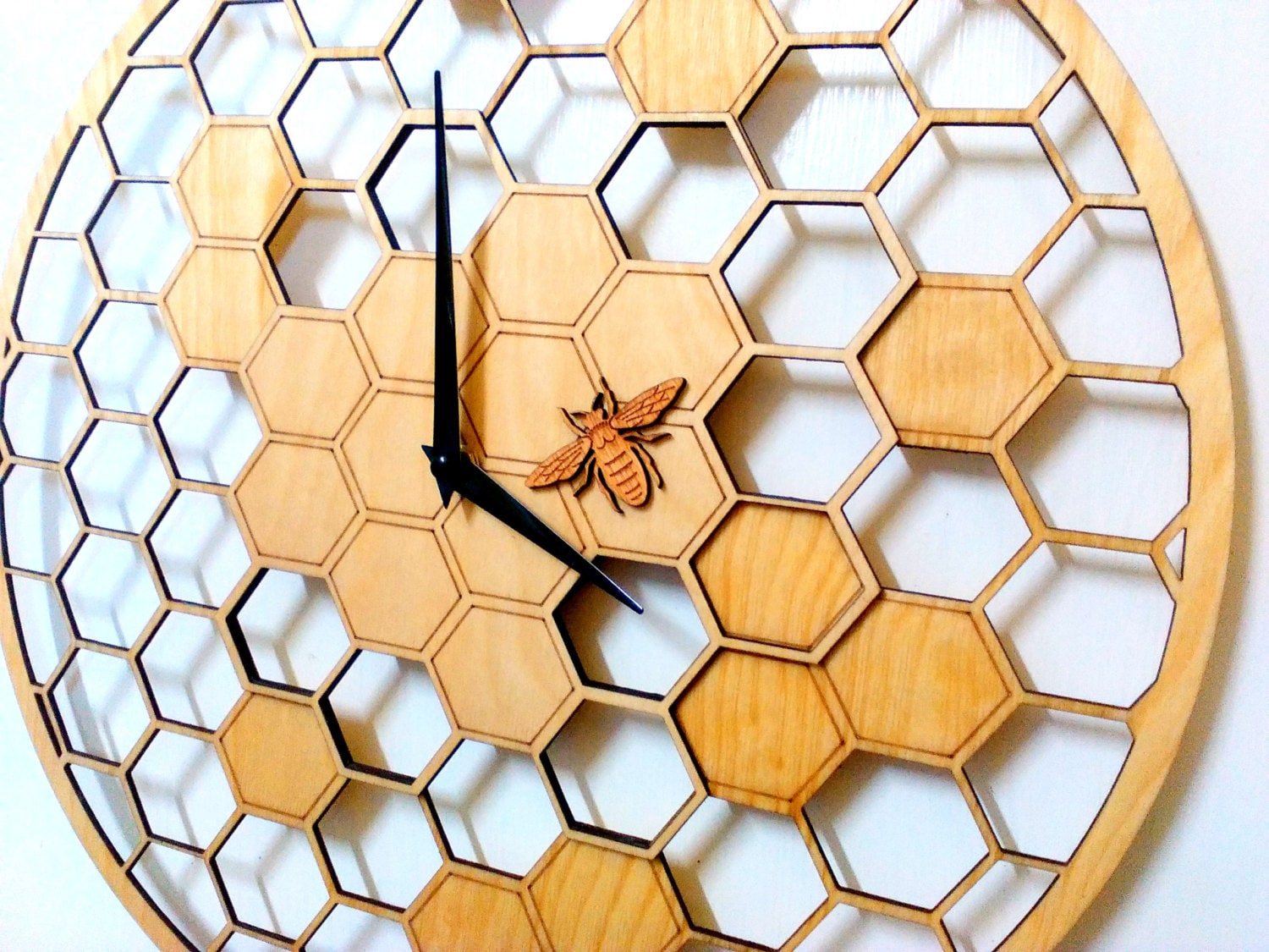 Bee cells laser cut wall clock 157 diameter large zoom amipublicfo Choice Image