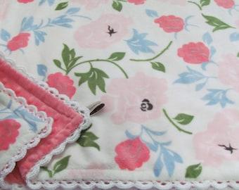 Minky baby blanket- Rose pattern minky baby blanket-Toddler minky blanket- minky blanket- stroller blanket- crib minky blanket- Shabby Chic