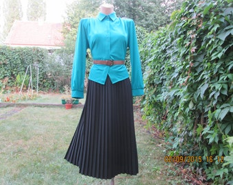 Pleated Skirt / Pleated Skirts / Black Pleated Skirt / Pleated Skirt Vintage / Long / Size 44 / UK16