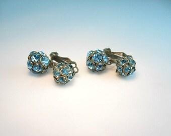 Rhinestone Earrings. Aqua Blue. Vintage 1950s Glamour Jewelry Turquoise Dangle Clip Ons.