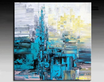 Abstract Painting,   HUGE Original DEEP Artist Canvas  Textured Palette Knife Painting,   Ready to Hang