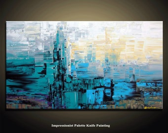 XL Abstract Painting,  60''x40'', HUGE Original DEEP Artist Canvas  Textured Palette Knife Painting,   Ready to Hang