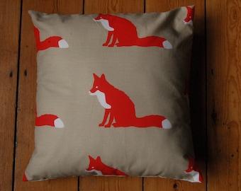Handmade Cushion Cover Anorak Proud Fox Fabric 16 x 16