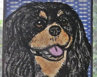 "King Charles Spaniel  Stained Glass Suncatcher 4""x 4""  JRN044"