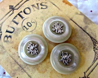 3 Unique Large Metal Shield and Pearly Shank Buttons